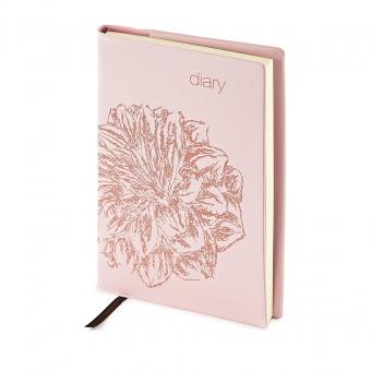 Ежедневник недатированный Flowers, А6, розовый, бежевый блок, без обреза, ляссе