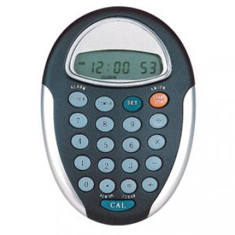 Калькулятор на клипе и магните (часы,будильник,таймер), черный, 10,4х7,4х2,8см; пластик /тампопечать