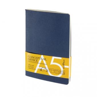 Блокнот Conceptual office, синий, A5, бежевый блок, без обреза, клетка, 40 листов