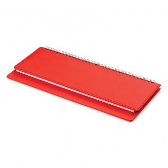 Планинг недатированный, Velvet, красный , 305х130 мм, белый блок, открытый гребень