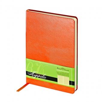 Ежедневник недатированный Megapolis, А5, оранжевый, бежевый блок, без обреза, ляссе