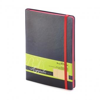 Блокнот без линовки Megapolis Soft, А5, черный, бежевый блок, контрастный с обложкой обрез, ляссе