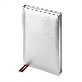 Ежедневник полудатированный Cult Silver, А5+, серебристый,  серебряный обрез, два ляссе