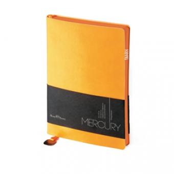 Ежедневник недатированный Mercury, А6, оранжевый, белый блок, оранжевый обрез, два ляссе