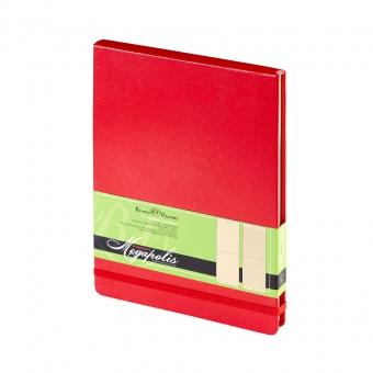 Ежедневник-блокнот недатированный Megapolis-Reporter, А5, красный, бежевый блок, без обреза