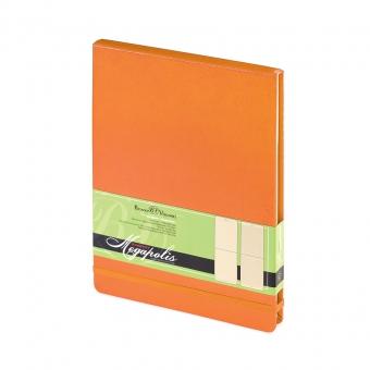 Ежедневник-блокнот недатированный Megapolis-Reporter, А5, оранжевый, бежевый блок, без обреза