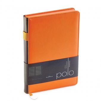 Ежедневник недатированный Polo, А5, оранжевый, белый блок, оранжевый обрез, ляссе, шильд
