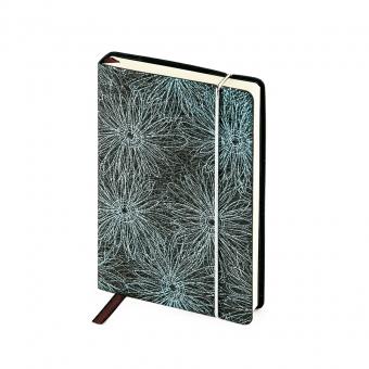 Ежедневник недатированный SAN REMO, А6, черный с синим, бежевый блок, без обреза, ляссе