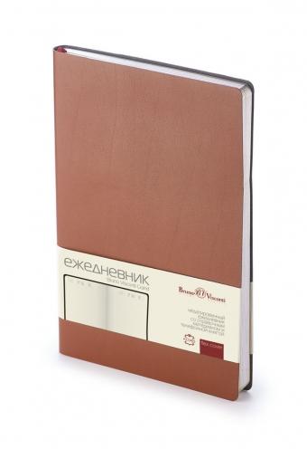 Ежедневник недатированный Grand, А5, коричневый, бежевый блок, серебряный обрез, двойное ляссе,шильд