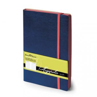 Ежедневник недатированный Megapolis Soft, А5, синий, бежевый блок, контрастный обрез, ляссе