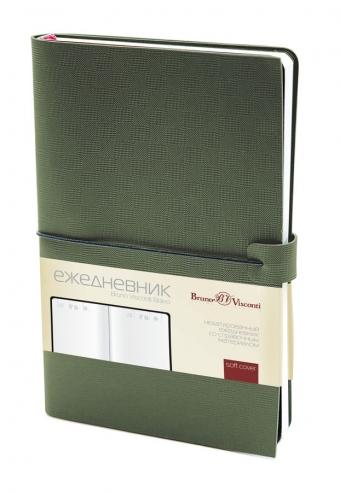 Ежедневник недатированный Bravo, зеленый, А5, белый блок, без обреза, ляссе