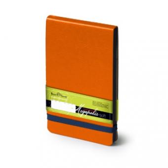 Еженедельник датированный Megapolis Soft, А6, оранжевый, бежевый блок, без обреза, ляссе