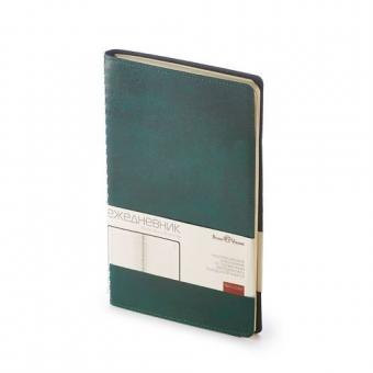 Ежедневник недатированный Verona, А5, зеленый, бежевый блок, без обреза