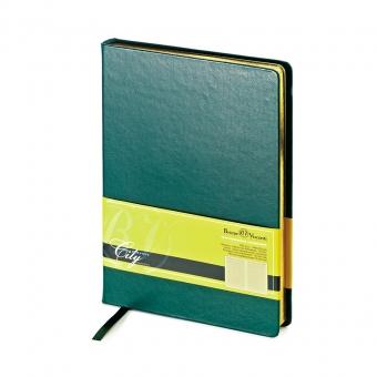 Ежедневник недатированный City, зеленый, А5, бежевый блок, золотой обрез, ляссе