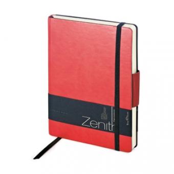 Ежедневник недатированный Zenith, красный, В6, бежевый блок, без обреза, ляссе, на резинке
