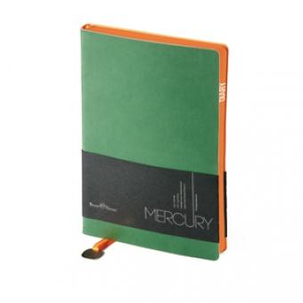 Ежедневник недатированный Mercury, зеленый, А5, белый блок, оранжевый обрез, ляссе с шильдом