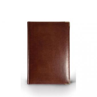 Ежедневник полудатированный Imperium, А5+, коричневый, бежевый блок, золотой обрез, два ляссе, карта