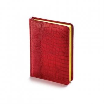Ежедневник недатированный Manhattan, А6, красный, бежевый блок, золотой обрез, ляссе