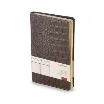 Ежедневник недатированный Boston, А5, коричневый, бежевый блок, без обреза
