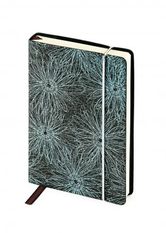 Ежедневник недатированный SAN REMO, А5, черный с синим, бежевый блок, без обреза, ляссе