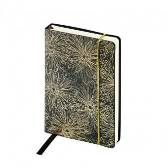 Ежедневник недатированный SAN REMO, А6, черный с золотом, бежевый блок, без обреза, ляссе