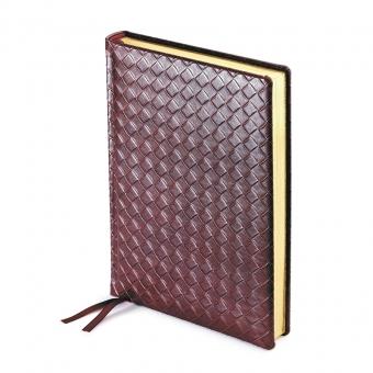 Ежедневник полудатированный Magnum, А5+, бордовый, бежевый блок, золотой обрез, два ляссе, карта