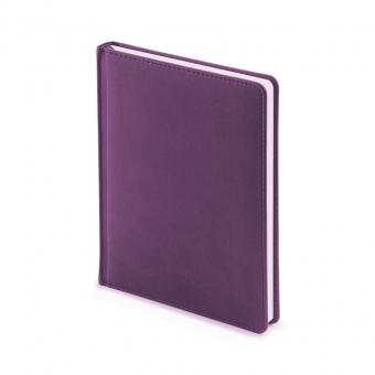 Ежедневник недатированный Velvet, А6+, фиолетовый, белый блок, без обреза, ляссе