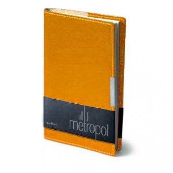 Еженедельник недатированный Metropol, А6, оранжевый, бежевый блок, металлический шильдик, без обреза