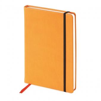 Блокнот недатированный Megapolis Velvet, А5, оранжевый, бежевый блок, без обреза, ляссе