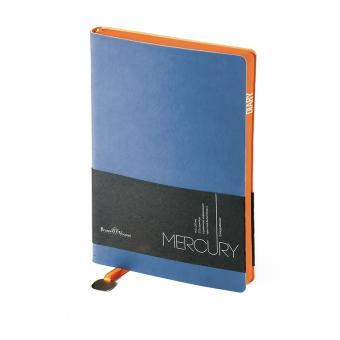 Ежедневник недатированный Mercury, синий, А5, белый блок, оранжевый обрез, ляссе с шильдом