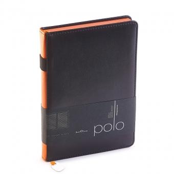 Ежедневник недатированный Polo, А5, черный, белый блок, оранжевый обрез, ляссе, шильд