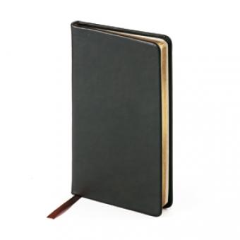 Еженедельник недатированный Megapolis Velvet, А6, черный, бежевый блок, золотой обрез, ляссе