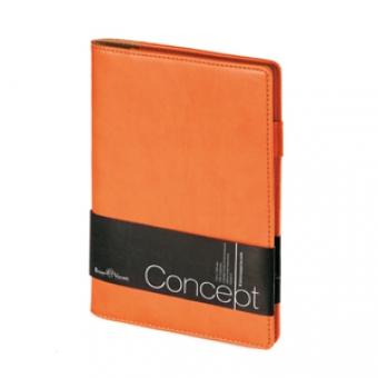 Еженедельник недатированный Concept, А5, оранжевый, бежевый блок, без обреза