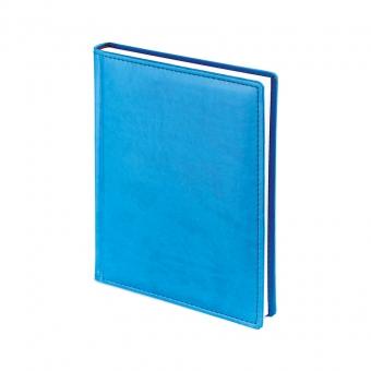Ежедневник недатированный Velvet, А6+, синий флюор, белый блок, без обреза, ляссе