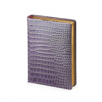 Ежедневник полудатированный Manhattan New, А6+, фиолетовый, бежевый блок, золотой обрез, два ляссе