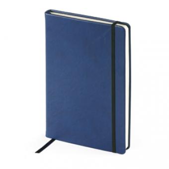 Ежедневник недатированный Megapolis Velvet, А5, темно-синий, бежевый блок, без обреза, ляссе