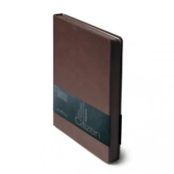 Ежедневник недатированный New Citizen, А5, коричневый, белый блок, коричневый обрез, ляссе