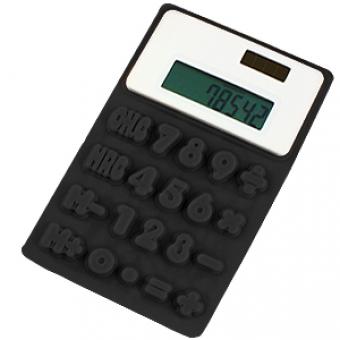 """Калькулятор """"Flexible""""; черный; 8х13х0,8 см; пластик; тампопечать"""
