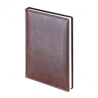 Ежедневник недатированный Velvet, А5, коричневый, белый блок, без обреза
