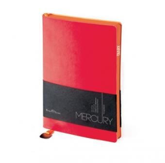 Ежедневник недатированный Mercury, А6, красный, белый блок, оранжевый обрез, два ляссе