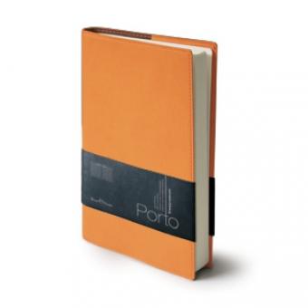 Ежедневник портфолио полудатированный Porto, А5, оранжевый, бежевый блок, без обреза,