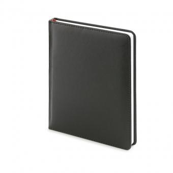Ежедневник недатированный Velvet, А6+, черный, белый блок, без обреза, ляссе