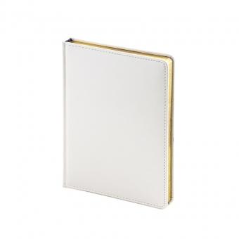 Ежедневник недатированный Sidney Nebraska, А6+, белый, белый блок, золотой обрез, ляссе