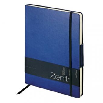 Ежедневник недатированный Zenith, темно-синий, В5, бежевый блок, без обреза, ляссе, на резинке