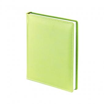 Ежедневник недатированный Velvet, А6+, зеленый флюор, белый блок, без обреза, ляссе