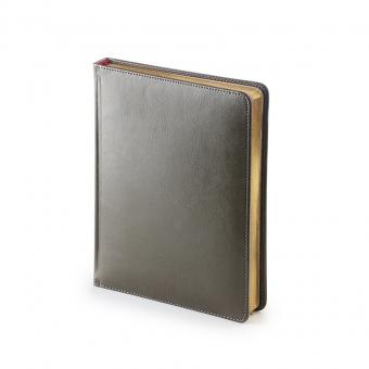 Ежедневник недатированный Sidney Nebraska, А6+, серый, белый блок, золотой обрез, ляссе