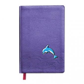 Ежедневник недатированный Rich, А6-, фиолетовый, бежевый блок, без обреза, ляссе