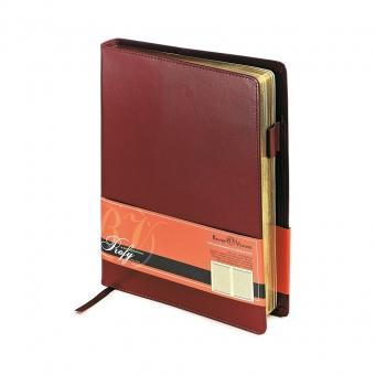 Ежедневник портфолио полудатированный Profy, А5, бордовый, бежевый блок, золотой обреза, ляссе