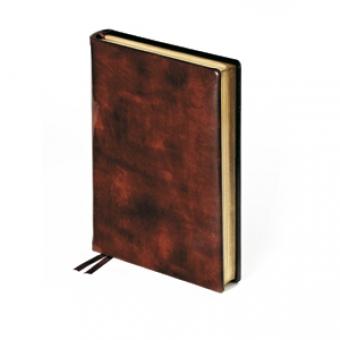 Ежедневник полудатированный Premier, А5+, коричневый, бежевый блок, золотой обрез, два ляссе, карта