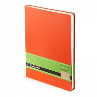 Ежедневник недатированный Megapolis, А4, оранжевый, бежевый блок, без обреза, ляссе